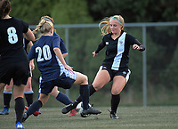 Action from the Wellington secondary school girls' football division one match between Queen Margaret's College and St Mary's College at Wakefield Park in Wellington, New Zealand on Wednesday, 22 May 20189. Photo: Dave Lintott / lintottphoto.co.nz