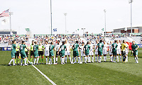 Players exchange handshakes..Saint Louis Athletica and LA Sol, played to a 0-0 tie at Robert Hermann Stadium in St Louis, MO. April 25 2009.