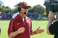 STANFORD, CA - August 31, 2012: Head Coach Paul Ratcliffe at halftime during the Stanford vs Boston College women's soccer match in Stanford, California. Stanford tied 1-1.