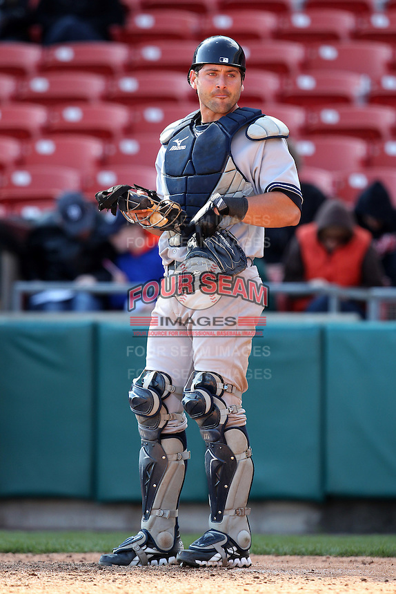 Empire State Yankees catcher Francisco Cervelli #3 during a game against the Buffalo Bisons at Coca-Cola Field on April 12, 2012 in Buffalo, New York.  Empire State defeated Buffalo 7-2.  (Mike Janes/Four Seam Images)