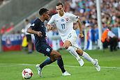 June 19th 2017, Kielce, Poland; UEFA European U-21 football championships, England versus Slovakia; Jacob Murphy (ENG) turns to challenge the long ball from Lukas Haraslin (SLO)