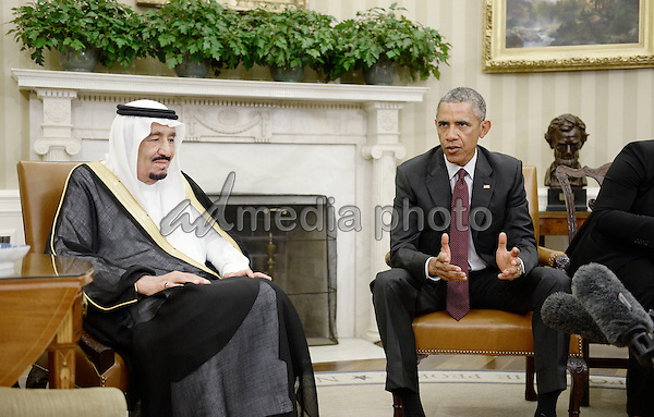 United States President Barack Obama, right and King Salman bin Abdulaziz Al Saud of Saudi Arabia, left, speak to the press pool prior to a bilateral meeting between the two leaders in the Oval Office of the White House September 4, 2015 in Washington, D.C. Photo Credit: Olivier Douliery/CNP/AdMedia