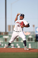 Rogelio Armenteros (41) of the Lancaster JetHawks pitches against the Modesto Nuts at The Hanger on June 7, 2016 in Lancaster, California. Lancaster defeated Modesto, 3-2. (Larry Goren/Four Seam Images)
