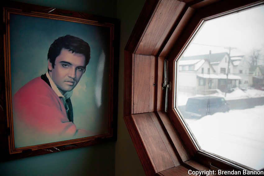 An Elvis portrait that was cherished by his late wife  Alice, hangs by the door of Nachreiner's Central Avenue home in Buffalo, NY.