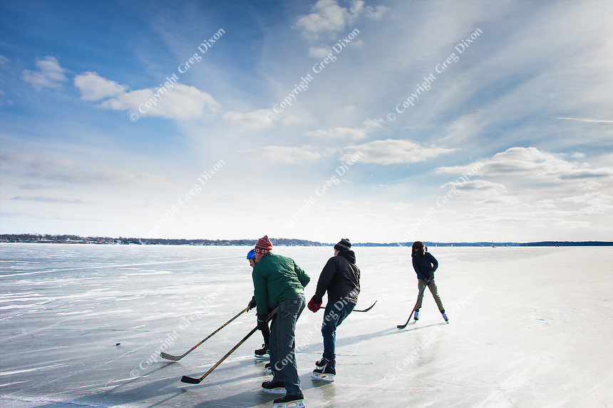 """""""Lake Monona Ice Hockey""""  Madison, Wisconsin 