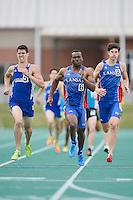 Grayson Birka of Texas-Arlington, Teddy Oteba and Ben Brownlee of Kansas compete in 800 Meter final during Baylor Invitational track meet, Friday, April 03, 2015 in Waco, Tex. (Mo Khursheed/TFV Media via AP Images)