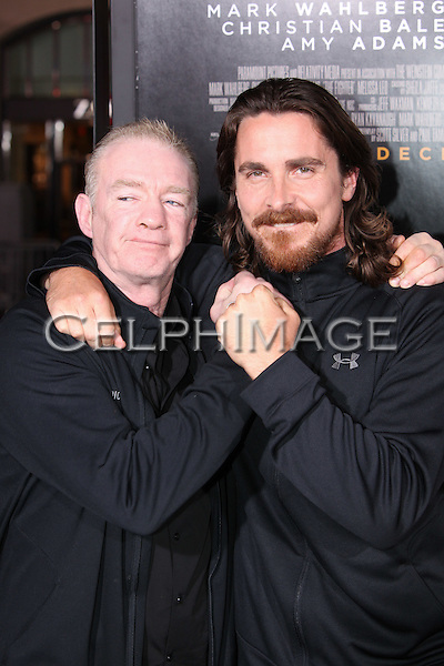 "DICKY EKLUND, CHRISTIAN BALE. World Premiere of Paramount Pictures' ""The Fighter"" at Grauman's Chinese Theatre. Hollywood, CA, USA. December 6, 2010. ©CelphImage"