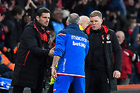 AFC Bournemouth Manager Eddie Howe right and AFC Bournemouth Assistant Manager Jason Tindall left shake hands with Stoke City Manager Paul Lambert during AFC Bournemouth vs Stoke City, Premier League Football at the Vitality Stadium on 3rd February 2018