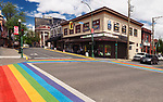 Nanaimo city downtown rainbow crosswalk at Bastion and Commercial streets. Vancouver Island, British Columbia, Canada 2017