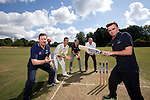 SWALEC ambassador Robert Croft with Gavin Hawkey, Cricket Wales, Huw Lock, SWALEC and St Fagans cricketers Joe O'Gorman and Iori Moore<br /> <br /> St Fagans Cricket Club<br /> <br /> 24.07.13<br /> &copy;Steve Pope-Sportingwales