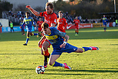 5th November 2017, Damson Park, Solihull, England; FA Cup first round, Solihull Moors versus Wycombe Wanderers;Craig Mackail-Smith of Wycombe Wanderers pushes Chris Camwell of Solihull Moors off the ball