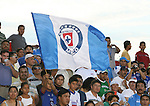 A Cruz Azul fan waives a flag. The United Soccer League Division 1 Carolina Railhawks played Club Deportivo Cruz Azul of La Primera Division del Futbol Mexicano on Wednesday, July 25, 2007 in an international club friendly game at SAS Stadium in Cary, North Carolina/