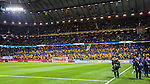 Solna 2014-11-19 Fotboll VM-kval Playoff , Sverige - Portugal :  <br /> Vy &ouml;ver planen mot l&auml;ktare med Sverige supportrar innan matchen<br /> (Photo: Kenta J&ouml;nsson) Keywords:  Sweden Portugal supporter fans publik supporters inomhus interi&ouml;r interior