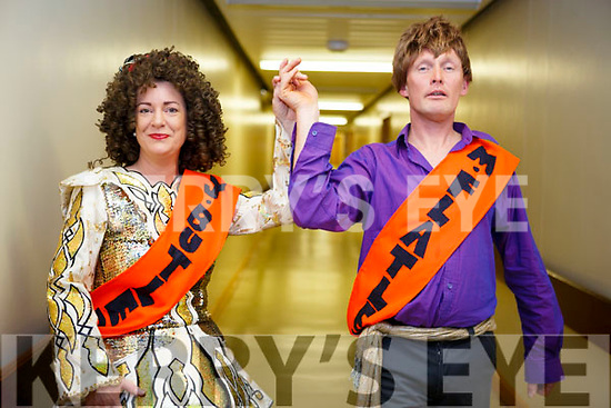 Cora Walsh (Jean Butter) and Padraig Dennehy (Michael Flatfeet), UHK staff members launching their Strictly Come Dancing for Chemotherapy Day Unit in University Hospital Kerry  on Thursday last.