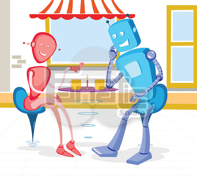 Robot couple at a sidewalk cafe