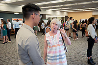 "Board of Trustees member Anne Cannon '74<br /> ""Lhokay (Bhutia) Dictionary"" by William Chen<br /> (Mentor: Amy Holmes-Tagchungdarpa, Religious Studies)<br /> Occidental College's Undergraduate Research Center hosts their annual Summer Research Conference, Aug. 1, 2018. Student researchers presented their work as either oral or poster presentations at the final conference. The program lasts 10 weeks and involves independent research in all departments.<br /> (Photo by Marc Campos, Occidental College Photographer)"