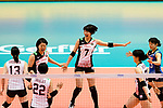 Yuki Ishii of Japan (C) celebrates a point with her team during the FIVB Volleyball Nations League Hong Kong match between Japan and Italy on May 29, 2018 in Hong Kong, Hong Kong. Photo by Marcio Rodrigo Machado / Power Sport Images
