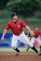 Kannapolis Intimidators third baseman Jake Burger (31) on defense against the Columbia Fireflies at Kannapolis Intimidators Stadium on July 23, 2017 in Kannapolis, North Carolina.  The Fireflies defeated the Intimidators 3-1.  (Brian Westerholt/Four Seam Images)