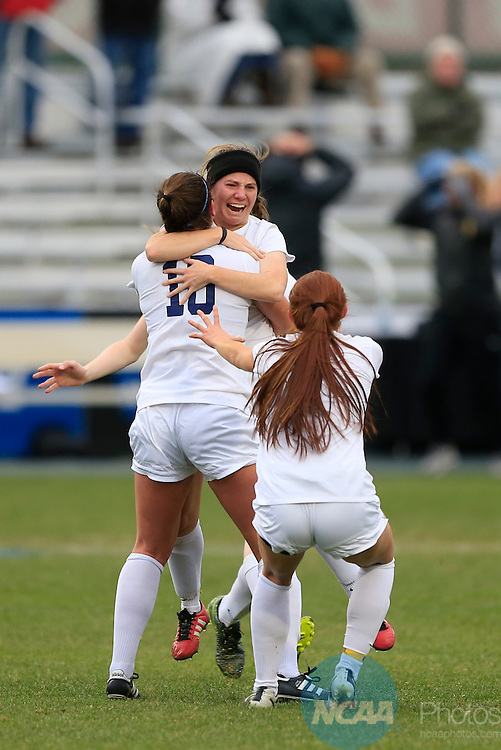 KANSAS CITY, MO - DECEMBER 03:  Teammates congratulate Caitlyn Jobanek (12) of Western Washington University on her second goal against Grand Valley State University during the Division II Women's Soccer Championship held at Children's Mercy Victory Field at Swope Soccer Village on December 03, 2016 in Kansas City, Missouri. Western Washington University beat Grand Valley State University 3-2 to win the national title.  (Photo by Jack Dempsey/NCAA Photos via Getty Images)