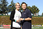 26 September 2010: Natalie Spilger is presented with the Citi Sportswoman of the Year award by Citi's Garvin Lee. FC Gold Pride defeated the Philadelphia Independence 4-0 at Pioneer Stadium in Heyward, California in the Women's Professional Soccer championship game.