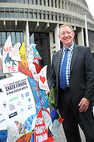 Minister Nick Smith with some of the 78,000 pledges made in support of a ban on the practice of shark finning. Parliament Buildings, Wellington, New Zealand on Thursday, 5 December 2013 Photo: Dave Lintott / lintottphoto.co.nz