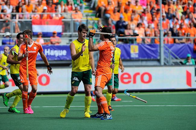 The Hague, Netherlands, June 15: Matt Gohdes #16 of Australia and Marcel Balkestein #5 of The Netherlands in action during the field hockey gold match (Men) between Australia and The Netherlands on June 15, 2014 during the World Cup 2014 at Kyocera Stadium in The Hague, Netherlands. Final score 6-1 (2-1)  (Photo by Dirk Markgraf / www.265-images.com) *** Local caption ***