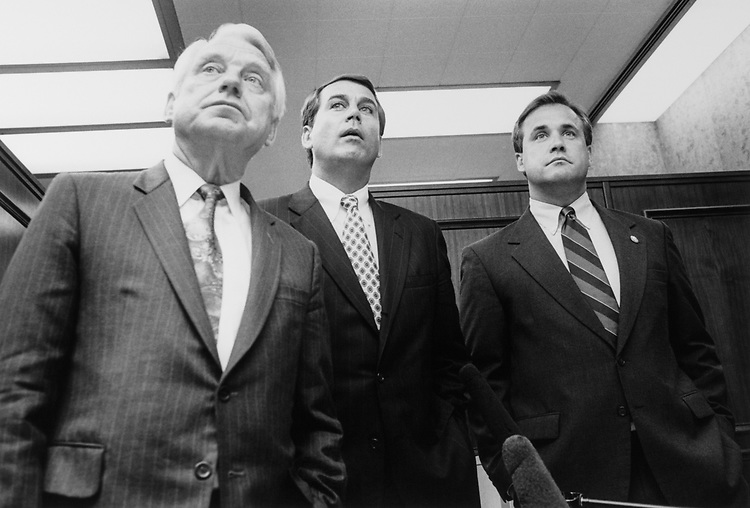 Rep. Ron Packard, R-Calif., Rep. John Boehner, R-Ohio, Rep. Jim Nussle, R-Iowa in the House Barbershop in Rayburn on June 26, 1995. (Photo by Laura Patterson/CQ Roll Call)