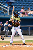 Biloxi Shuckers left fielder Troy Stokes Jr. (15) at bat during a game against the Jacksonville Jumbo Shrimp on May 6, 2018 at MGM Park in Biloxi, Mississippi.  Biloxi defeated Jacksonville 6-5.  (Mike Janes/Four Seam Images)