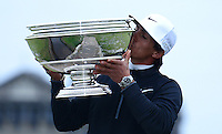 Thorbjorn Olesen of Denmark kisses the trophy on the Swilcan Bridge following his victory during the Final Round of the 2015 Alfred Dunhill Links Championship at the Old Course, St Andrews, in Fife, Scotland on 4/10/15.<br /> Picture: Richard Martin-Roberts | Golffile