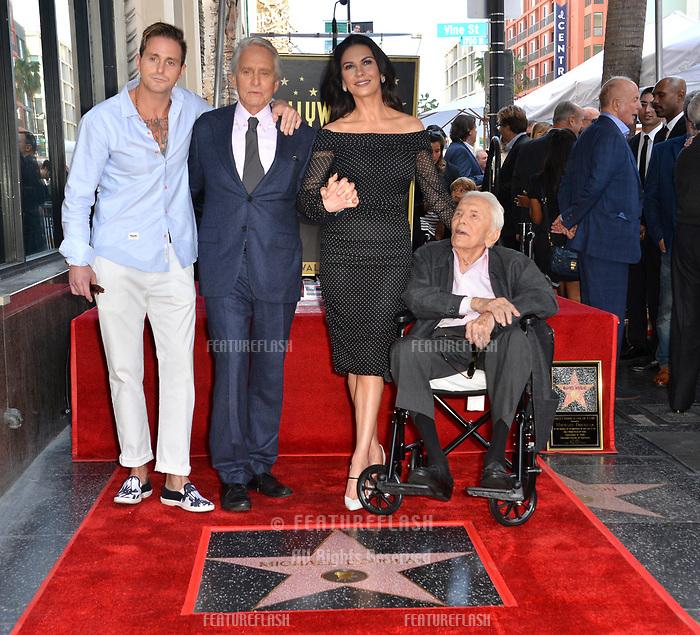 LOS ANGELES, CA. November 06, 2018: Michael Douglas, Kirk Douglas, Catherine Zeta-Jones & Cameron Douglas at the Hollywood Walk of Fame Star Ceremony honoring actor Michael Douglas.<br /> Pictures: Paul Smith/Featureflash