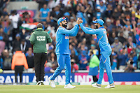 Virat Kolli (India) celebrates with Ravindra Jadeja (India) at the conclusion of the match during India vs Australia, ICC World Cup Cricket at The Oval on 9th June 2019