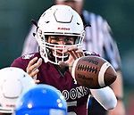 Belleville West quarterback Jackson McCloskey takes a snap. Belleville West defeated Riverview Gardens in football on Friday August 24, 2018.<br /> Tim Vizer/Special to STLhighschoolsports.com