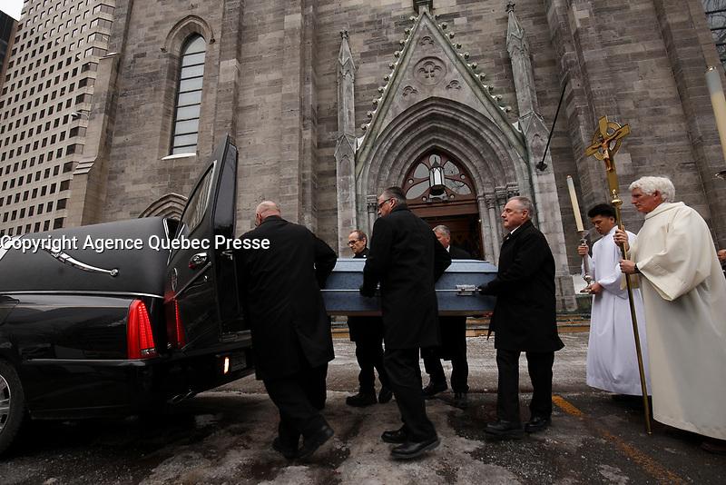 Les funerailles du Pere Emmett Johns, &quot;Pops&quot;, celebres par l'Archevque de Montreal Christian Lepine, le 27 Janvier 2018 a la Basilique Saint-Patrick. <br /> <br /> PHOTO :  Agence Quebec Presse