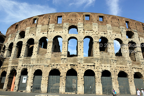 Exterior photo of the mostly intact inner wall of the Colosseum, also known as the Flavian Amphitheatre, in Rome, Italy on Friday, May 25, 2012..Credit: Ron Sachs / CNP