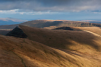 Cribyn and mountain landscape viewed from Pen Y Fan, Brecon Beacons national park, Wales