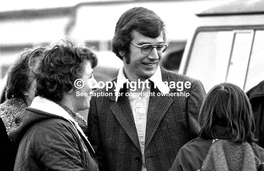 Fintan O'Hagan, Provisional Sinn Fein activist, outside Long Kesh, near Lisburn, N Ireland, following his release at the ending of internment. Fintan is the son of Joe B O'Hagan, who in 1973 escaped from Mountjoy Prison, Dublin, by helicopter. 197512050755FOH1. Copyright Image from Victor Patterson, 54 Dorchester Park, Belfast, UK, BT9 6RJ..Tel: +44 28 9066 1296.Mob: +44 7802 353836.Voicemail +44 20 8816 7153.Skype: victorpattersonbelfast.Email: victorpatterson@me.com.Email: victorpatterson@ireland.com (back-up)..IMPORTANT: If you wish to use this image or any other of my images please go to www.victorpatterson.com and click on the Terms & Conditions. Then contact me by email or phone with the reference number(s) of the image(s) concerned.