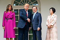 US President Donald J. Trump (C-L) and First Lady Melania Trump (L) welcome Korean President Moon Jae-in (C-R) and Mrs. Kim Jung-sook (R) to the Colonnade of the White House in Washington, DC, USA, 11 April 2019. President Moon is expected to ask President Trump to reduce sanctions on North Korea in an attempt to jump start nuclear negotiations between North Korea and the US.<br /> Credit: Jim LoScalzo / Pool via CNP/AdMedia