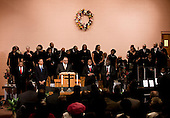 United States President Barack Obama (2nd-L) and others attend a Sunday service at Vermont Avenue Baptist Church, Sunday, January 17, 2010 in Washington, DC.  President Obama spoke during a service in honor of civil rights leader Dr. Martin Luther King Jr..Credit: Brendan Smialowski - Pool via CNP