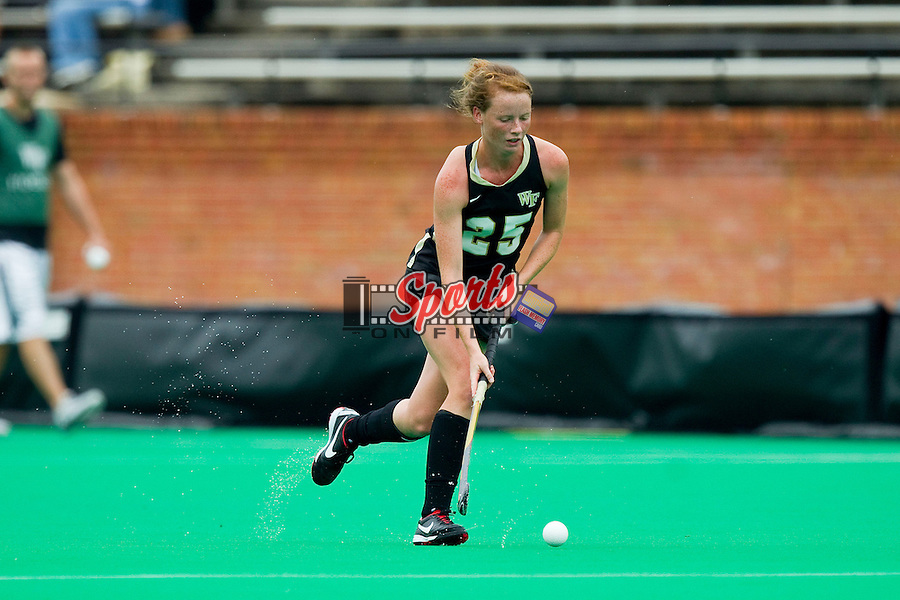 Kali Vicars (25) of the Wake Forest Demon Deacons pushes the ball up the field during first half action against the North Carolina Tar Heels at Kentner Stadium on September 16, 2012 in Winston-Salem, North Carolina.  The Tar Heels defeated the Demon Deacons 2-1 in overtime.  (Brian Westerholt / Sports On Film)