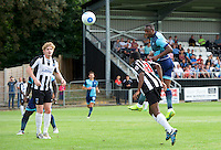 Myles Weston of Wycombe Wanderers gets above Isaac Olunfemi of Maidenhead United to have a header on goal during the Friendly match between Maidenhead United and Wycombe Wanderers at York Road, Maidenhead, England on 30 July 2016. Photo by Alan  Stanford PRiME Media Images.