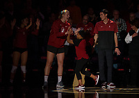Stanford, CA - October 18, 2019: Jahbriah Kaho, Kathryn Plummer at Maples Pavilion. The No. 2 Stanford Cardinal swept the Colorado Buffaloes 3-0.