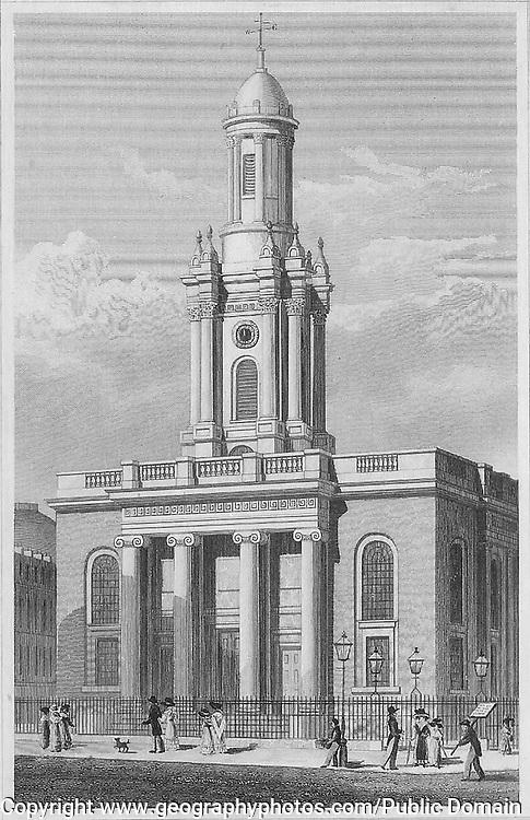 Trinity Church, New Road, engraving 'Metropolitan Improvements, or London in the Nineteenth Century' London, England, UK 1828 , drawn by Thomas H Shepherd
