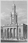 Trinity Church, New Road, engraving 'Metropolitan Improvements, or London in the Nineteenth Century' London, England, UK 1828 , drawn by Thomas H Shepherd