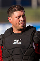 Nashville Sounds catcher Humberto Quintero #25 before the Pacific Coast League baseball game against the Round Rock Express on August 26th, 2012 at the Dell Diamond in Round Rock, Texas. The Sounds defeated the Express 11-5. (Andrew Woolley/Four Seam Images).