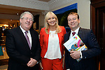 Joe Dolan, President, IHF, Miriam O'Callaghan, Conference Cahirman and Graham Fitzgerald, Dingle Skellig Hotel pictured  at the National Tourism Forum in The Muckross Park Hotel, Killarney at the weekend. <br /> Over 200 delegates from all over Ireland attend the inaugural event which was addressed by national and international speakers.<br /> Photo: Don MacMonagle<br /> <br /> Repro free photo