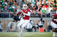 STANFORD, CA - SEPTEMBER 21: K.J. Costello #3 of the Stanford Cardinal gets ready to throw a pass during a game between University of Oregon and Stanford Football at Stanford Stadium on September 21, 2019 in Stanford, California.