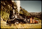 RGS #74 with RMRRC trip consist of  three gondolas, cabooses #0400 and #0401, and business car &quot;Edna&quot; after turning on the Illium wye.<br /> RGS  Illium, CO  Taken by Pfeiffer, Jack A. - 9/2/1951