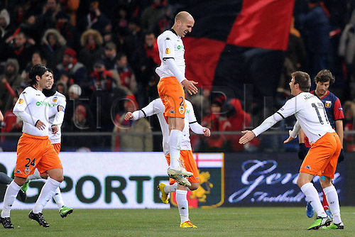 17.12.2009 Europa League Football from Luigi Ferraris stadium. Genoa v Valencia. Picture shows Saltor Bruno after opening the scoring for Valencia.