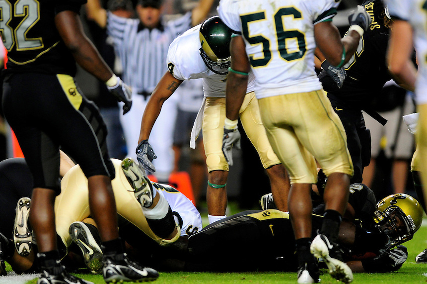 31 Aug 2008: Colorado running back Darrell Scott scores a touchdown on a 1-yard run against Colorado State. The Colorado Buffaloes defeated the Colorado State Rams 38-17 at Invesco Field at Mile High in Denver, Colorado. FOR EDITORIAL USE ONLY