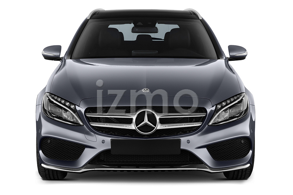 Car photography straight front view of a 2018 Mercedes Benz C Class AMG Line 5 Door Wagon